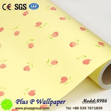 2017 yellow flowers home decoration pvc designs self-adhesive wallpaper
