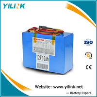 Rechargeable LiFePO4 12v 30ah lithium battery pack for solar system
