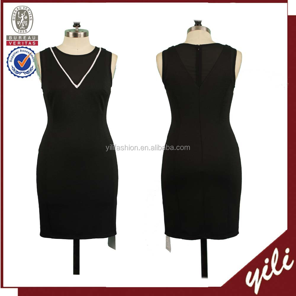 Elegant design plain black sleeveless mature ladies latest formal dress patterns