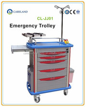 High Class ABS mobile emergency medical trolley , Hospital nursing cart