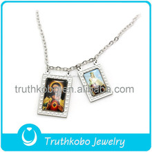 Wholesale Stainless Steel African Religious Jewellery Designs Enamel Tone Father Jesus And Blessed Mother Mary Pendant Necklace