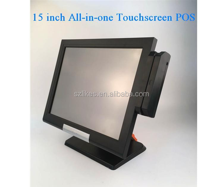 "LKS-POS910 new design compact size fashionable 15"" all-in-one flat Touch Screen Pos Terminal"