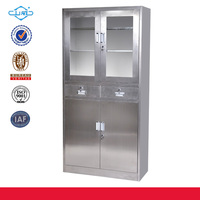laboratory and library used stainless steel glass door display cabinet