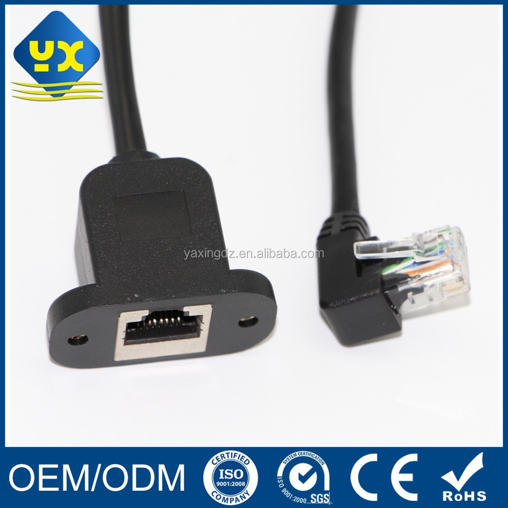 Cat5e Extension Cable 90 degrees RJ45 Male to RJ45 Female Panel Mount Ethernet Patch UTP Cable