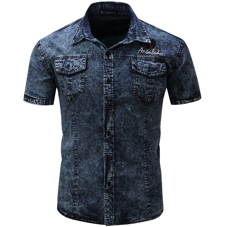 Showlands fashion 2017 Mens 100%Cotton Denim <strong>Shirts</strong> Washed