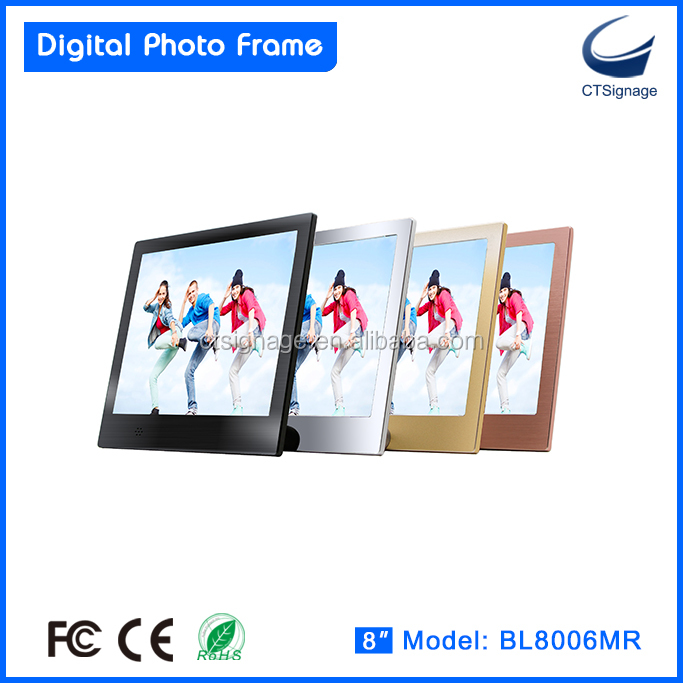 "best quality 8"" led digital photo frame with metal frame support photo music video"