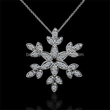 14K White Gold or 925 sterling silver Pendant Necklace with CZ Diamond Snowflake