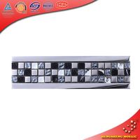HBD15 Rock Pattern Plating Glass mixed Diomend Glass and Black Stone Mosaic Border Tiles
