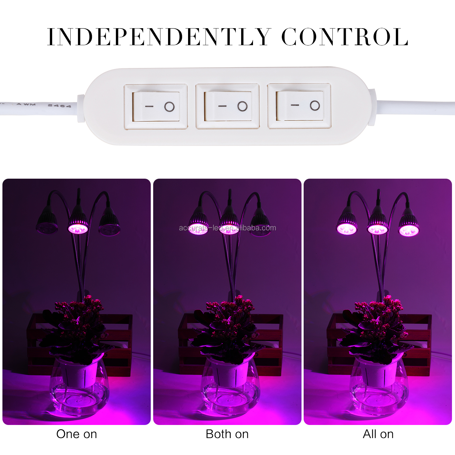15W triple head grow light Plant Grow Lamp with 360 degree flexible Gooseneck for Plant