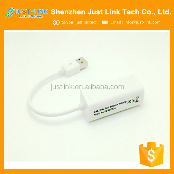Just Link supply USB2.0 Male to RJ45 Female Ethernet Network LAN Cable Adapter support Half/full duplex 10/100Mbps operation