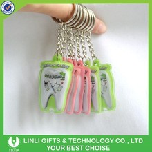 Tooth Shape Cheap Promotional Custom Led PVC Torch Keyring