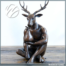 Abstract outdoor garden bronze life size deer statues
