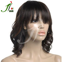 Unprocessed Virgin Brazilian Lace Front Wig With Bangs Glueless Full Lace Wig Human Hair Highlights for Black Women
