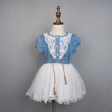Girl's Dress with Linen Top And Chiffon Tutu skirt