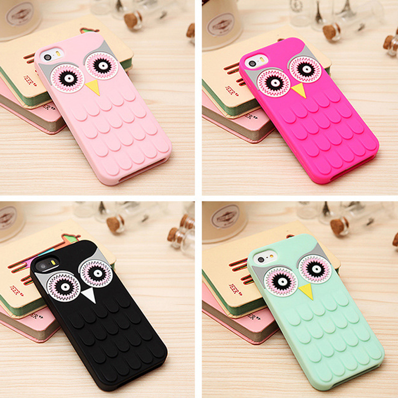 Custom 3d owl cartoon silicone phone case for Samsung s7 edge