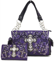 Western Cowgirl Concealed Carry Cross Rhinestone Purse Handbag Messenger Shoulder Bag