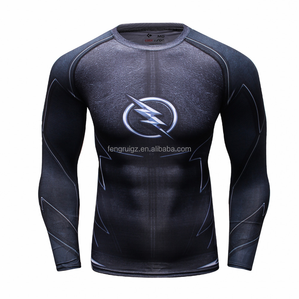 Wholesale Men's Clothing Gym Sport Wear Tight Fit Quick Dry T Shirts Polyester Spandex Custom 3D Printing T Shirts For Training