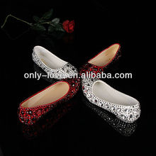 BS690 custom make plus size hotsell flat crystals bridal wedding shoes evenig shoes