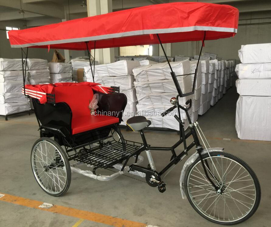 26 inch single speed rickshaw/ high quality pedicab with steel frame/ 3 wheel pedal tricycle with passenger seat
