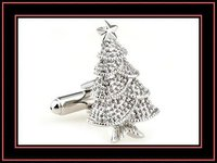 Novelty metal Christmas tree cufflink