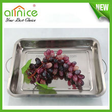 stainless steel cafeteria tray /stainless steel square tray /snacks serving tray with handle