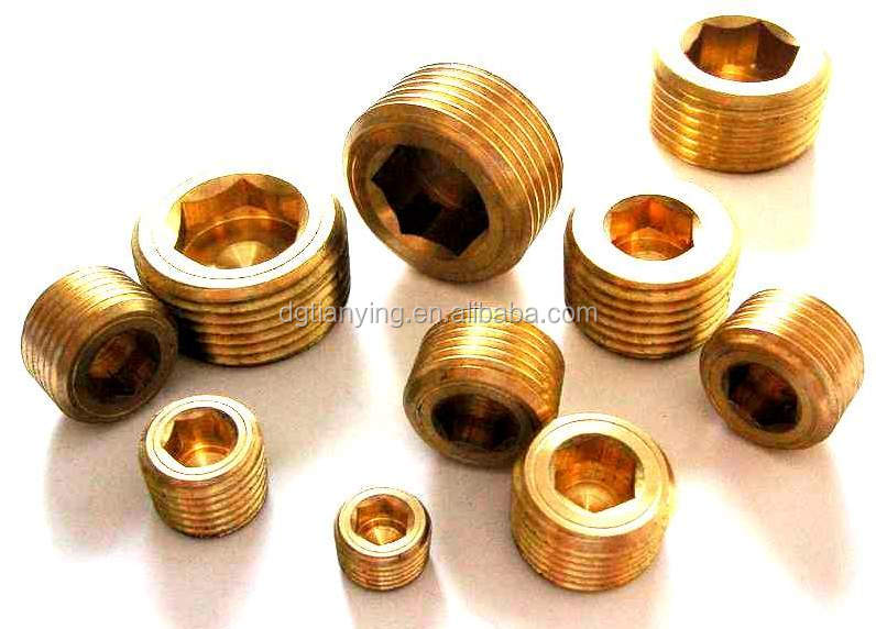 copper male tapered pipe hex plugs as water stopper