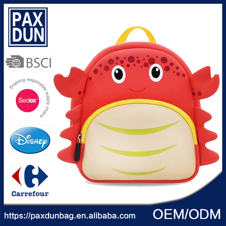 wholesale top sale kawaii small crab backpack neoprene party gift bags for toddler kids birthdays