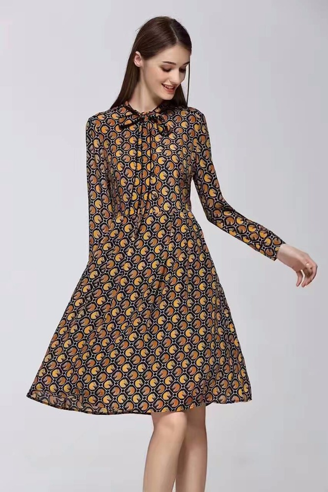 Europe style women printed black color knee length turkish casual dress