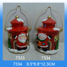 New arrivals ceramic led lantern with santa claus/snowman painting for hanging christmas decoration