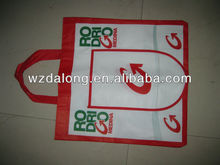 Laminated Eco Non Woven Foldable Pocket Shopper Bag,white with red printing