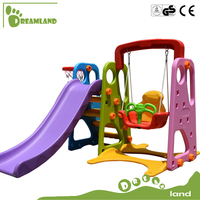 Multifunction plastic kids three in one slide with swing