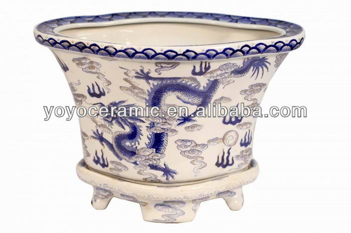 Hand Painted Chinese Ceramic Blue and White Flower Pot