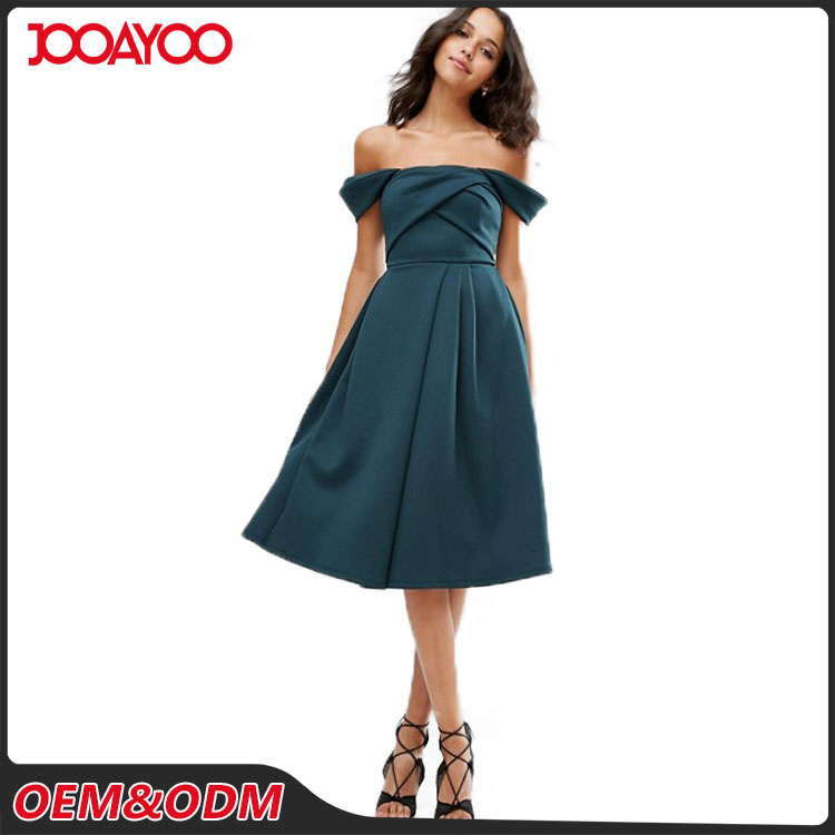 Custom Color Off-shoulder Lady Midi Party Dresses Cocktail Formal Women Evening Dinner Dress