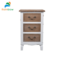 Small narrow wooden bed side cabinets with 3 drawers