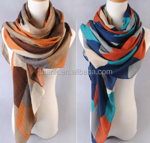 Wholesale 2016 New Cotton Scarf For Women Color Grid Scarves Printed Kerchief Shawl Hijab 180CM*90CM
