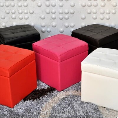 Y-1470 Collapsible ottoman folding storage bins colorful footstool