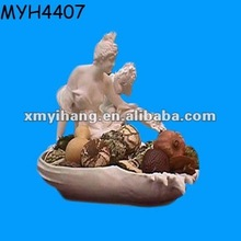Ceramic Victorian figural bowl with nymph cherub figurines