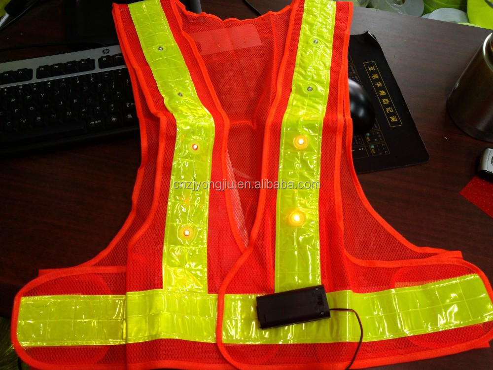 2016 New Manufacturer LEDhigh Visibility reflective safety Vest with Pocket