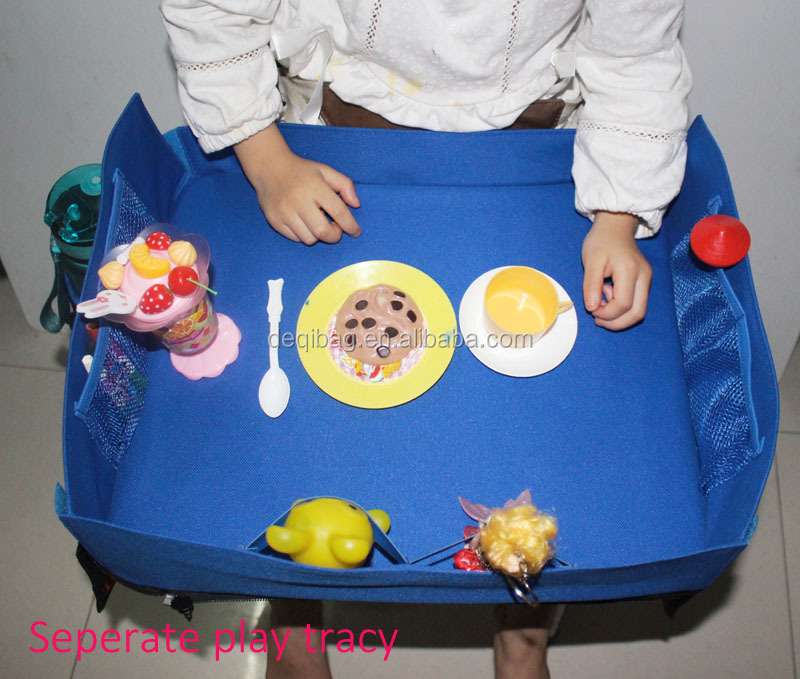 Car Seat Lap Travel Tray for Children 2 in 1 Convertible Snack and Play Tray and Backseat Car Organizer