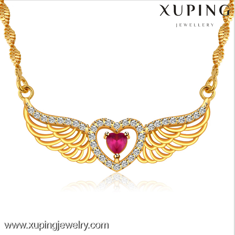 L4015 xuping zircon jewellery 24 carat gold price in india Angel wings gold necklace