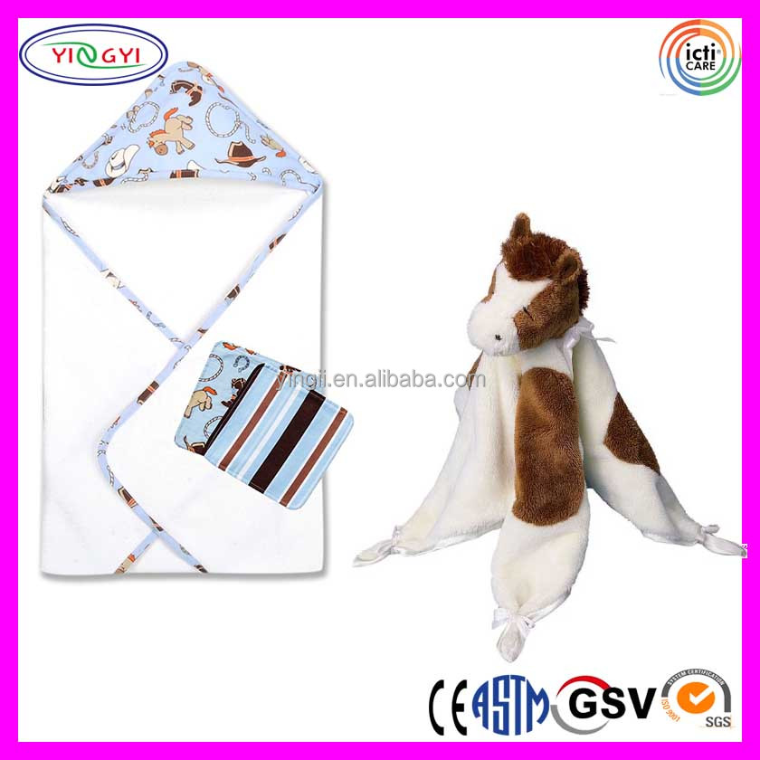 C409 Baby Bath Bundle Blanket with Spotted Brown Bib Horse Print Fleece Blanket