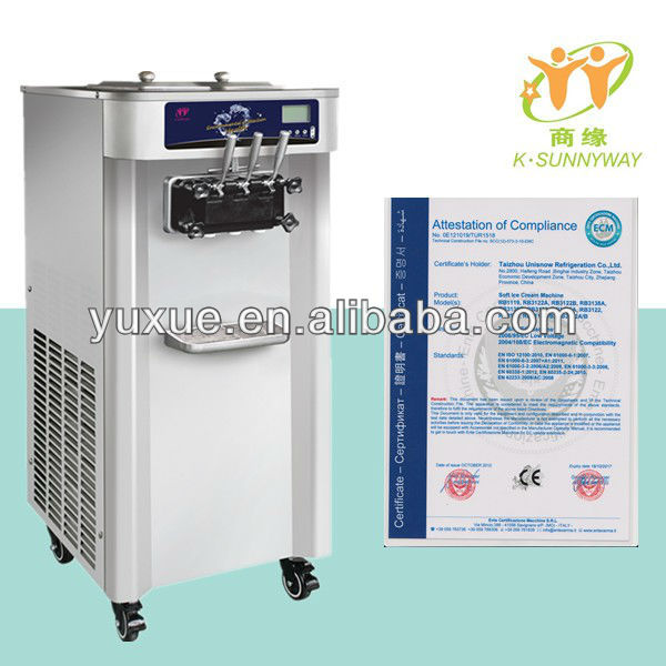 three flavors commercial soft ice cream machine for sale/CE certificate RB 3138A