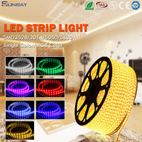 Colorful flexible rgb led strip 5M/roll 300Leds 600leds waterproof 220v dimmable led strip lights