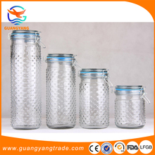 Rubber or Silicone Seal Airtight Swing Top Glass bottles Storage Jars with glass lid