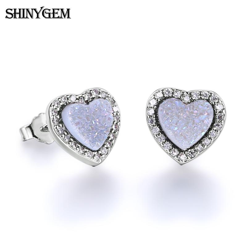 fashion silver plated natural crystal druzy stone agate quartz love heart stud earrings piercing for women jewelry charms