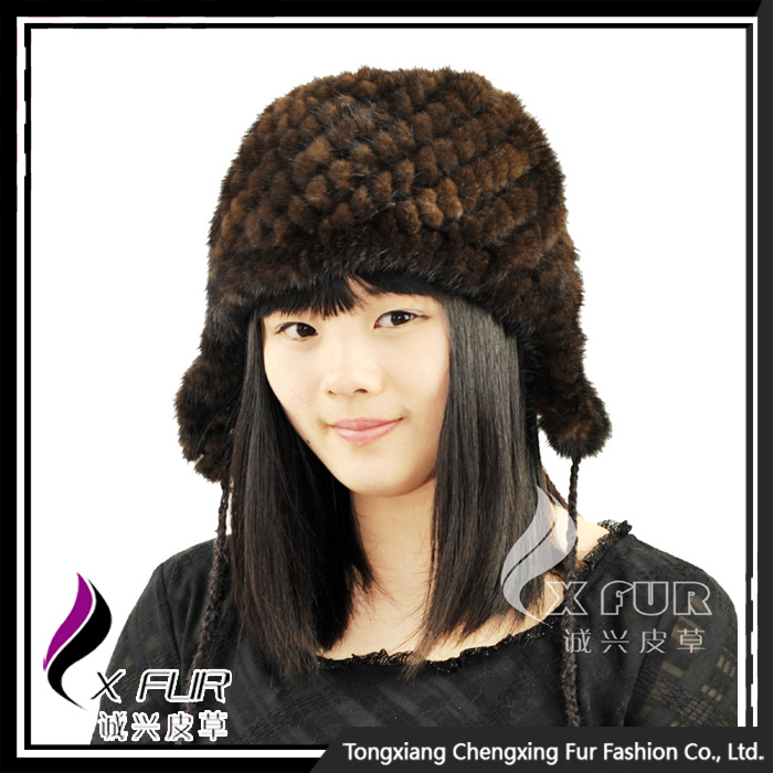 CX-C-52A Fashion Womens Knitted Mink Fur Hat With Ears
