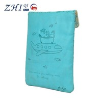 Custom cute cartoon pu leather soft sided laptop notebook bag sleeve case with flip cover for travel