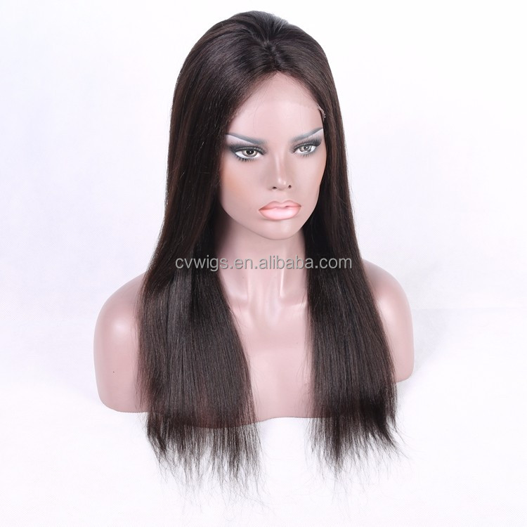Natural color silky straight easily wear lace front human hair wig for black women