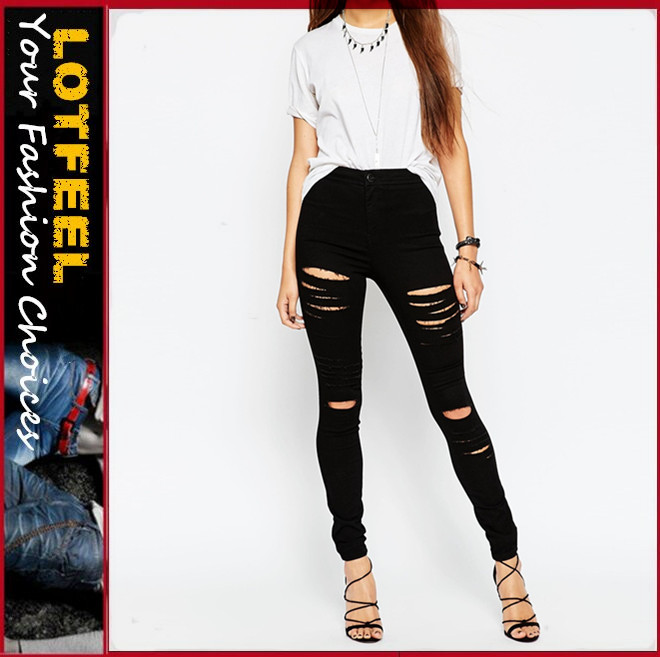 High Waist Denim Jeggings In Black With Extreme Rips(LOTW028)