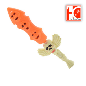Halloween party children pumpkin plastic sword light up toys flashing with ghost